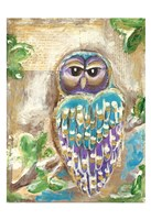 Purple Blue and Gold Owls Fine-Art Print