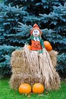 Wisconsin Autumn haystack, Halloween decorations Fine-Art Print
