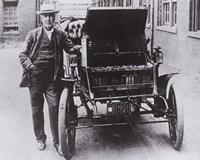 Thomas Edison with his first electric car, the Edison Baker Fine-Art Print