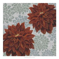 Woodblock Dahlias I Fine-Art Print