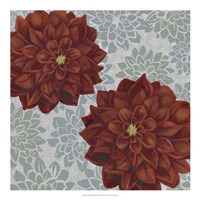 Woodblock Dahlias II Fine-Art Print