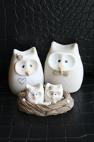 Owl Family Taupe Fine-Art Print