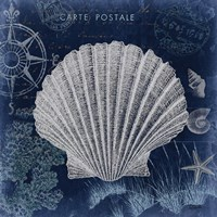 Seaside Postcard Navy I Fine-Art Print