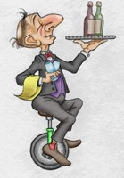 Unicycle Waiter Fine-Art Print