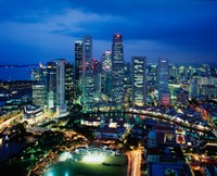Aerial View of Singapore at Night Fine-Art Print