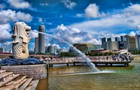 Symbol of Singapore and Downtown Skyline in Fullerton area, Clarke Quay, Merlion Fine-Art Print