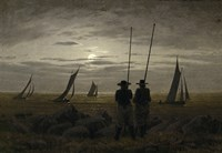 Moonlit Night on the Beach, with Fishermen Fine-Art Print