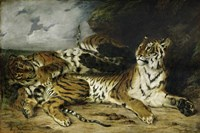 A Young Tiger Playing with its Mother, 1830 Fine-Art Print