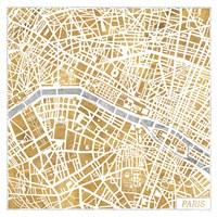 Gilded Paris Map Fine-Art Print
