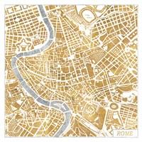 Gilded Rome Map Fine-Art Print