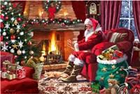 Santa By Fire Fine-Art Print