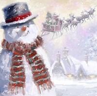 Snowman And Sleigh Fine-Art Print