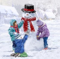 Children Making Snowman Fine-Art Print