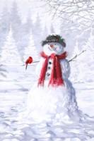 Snowman With Cardinal Fine-Art Print