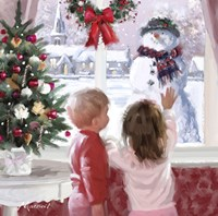 Boy And Girl Looking At Snowman Fine-Art Print
