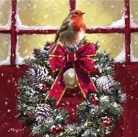 Robin On Wreath Fine-Art Print