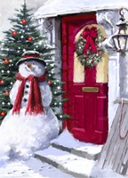 Snowman Outside Red Door Fine-Art Print
