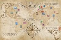 Old World Journey Map Stamps Cream Fine-Art Print