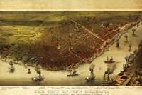 New Orleans & Mississippi River Map Fine-Art Print