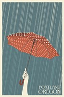Portland Oregon Umbrella In Rain Fine-Art Print
