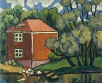 Landscape With Red House And Woman Washing, 1908 Fine-Art Print