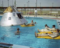 Apollo 1 Astronauts Working by the Pool Fine-Art Print