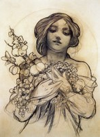Study of Woman with Fruit Fine-Art Print