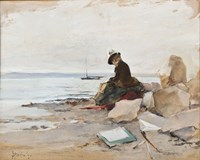 Painter At The Beach Fine-Art Print