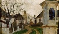 Bare Trees, Houses, and Shrine (Klosterneuburg, Austria) Fine-Art Print
