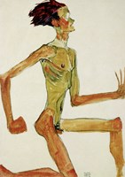 Kneeling Male Nude in Profile Facing Right, 1910 Fine-Art Print