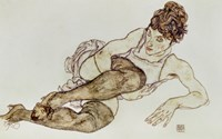 Reclining Woman With Black Stockings, 1917 Fine-Art Print