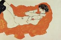 Reclining Female Nude On Red Drape, 1914 Fine-Art Print