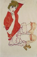 Wally In Red Blouse With Raised Knees, 1913 Fine-Art Print