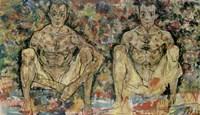 Two Squatting Men  (Double Self-Portrait), 1918 Fine-Art Print