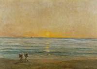 Sunset With Fishermen Fine-Art Print