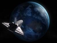 Space Shuttle Against Earth Fine-Art Print