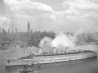 RMS Queen Mary in New York Harbor Fine-Art Print
