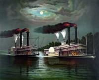 Steamboats Robert E Lee and Natchez Fine-Art Print