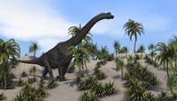 Large Brachiosaurus in a Tropical Environment Fine-Art Print