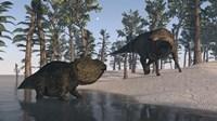 Udanoceratops and Shuangmiaosaurus Fine-Art Print