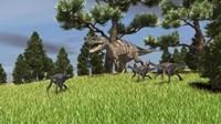 Ceratosaurus Chasing Gigantoraptors Fine-Art Print