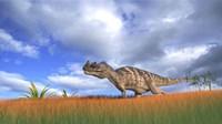 Ceratosaurus Hunting in Prehistoric Grasslands Fine-Art Print