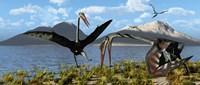 Gigantic Quetzalcoatlus pterosaurs Fine-Art Print