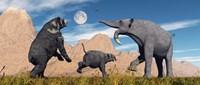 Arctodus Bear Chasing Deinotherium Fine-Art Print