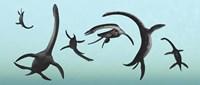 Plesiosaurs Gather Underwater Fine-Art Print