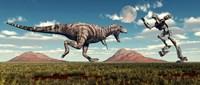 Tyrannosaurus Rex Battling Robot Fine-Art Print