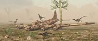 Velociraptors and a B-17 Fine-Art Print