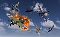 F4U Corsair and Japanese Nakajima Planes Fine-Art Print