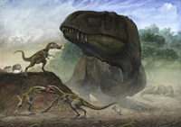 Huchengtyrannus Magnus and Offspring Fine-Art Print