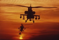 Four AH-64 Apache Helicopters Fine-Art Print